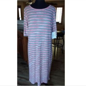 LulaRoe Julia Striped 3/4 Sleeve Maxi Dress 2XL